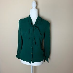 Tory Burch 100% silk secretary bow blouse #1920